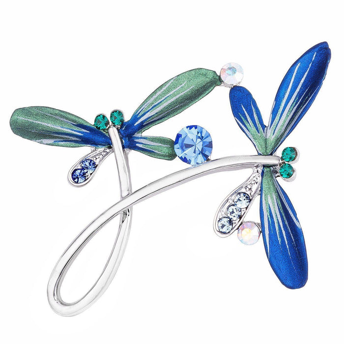 Brooches Silvertone Hand Painted Blue Enamel Crystal Accented Flying Dragonflies Brooch angelucci-jewelry