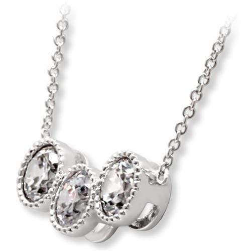 "Chain Pendant 16"" 1W111 Rhodium Brass Chain Pendant with AAA Grade CZ in Clear angelucci-jewelry"