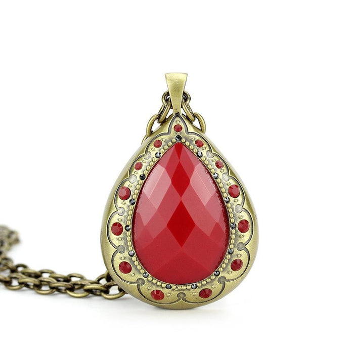 "Chain Pendant 16""+3"" LO4686 Antique Copper Brass Chain Pendant with Synthetic in Red Series angelucci-jewelry"