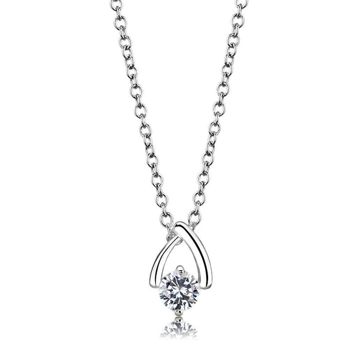 "Chain Pendant 16.5""+3.5"" LO4692 Silver+ e-coating Brass Chain Pendant with AAA Grade CZ in Clear angelucci-jewelry"