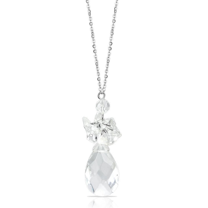 "Chain Pendant 16"" LO4711 Rhodium Brass Chain Pendant with AAA Grade CZ in Clear angelucci-jewelry"