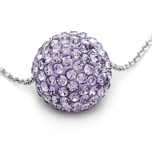 "Chain Pendant 18"" VL056 Rhodium Brass Chain Pendant with Top Grade Crystal in Light Amethyst angelucci-jewelry"