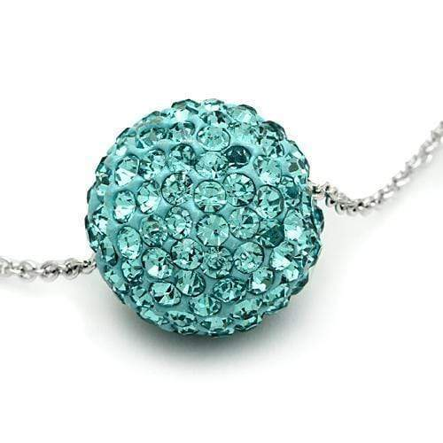 "Chain Pendant 18"" VL059 Rhodium Brass Chain Pendant with Top Grade Crystal in Sea Blue angelucci-jewelry"