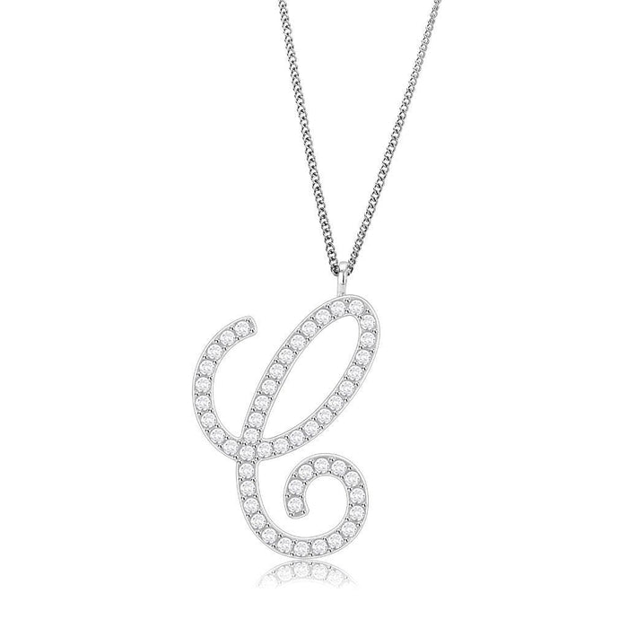 Chain Pendant LO4708 Imitation Rhodium Brass Chain Pendant with Top Grade Crystal in Clear angelucci-jewelry