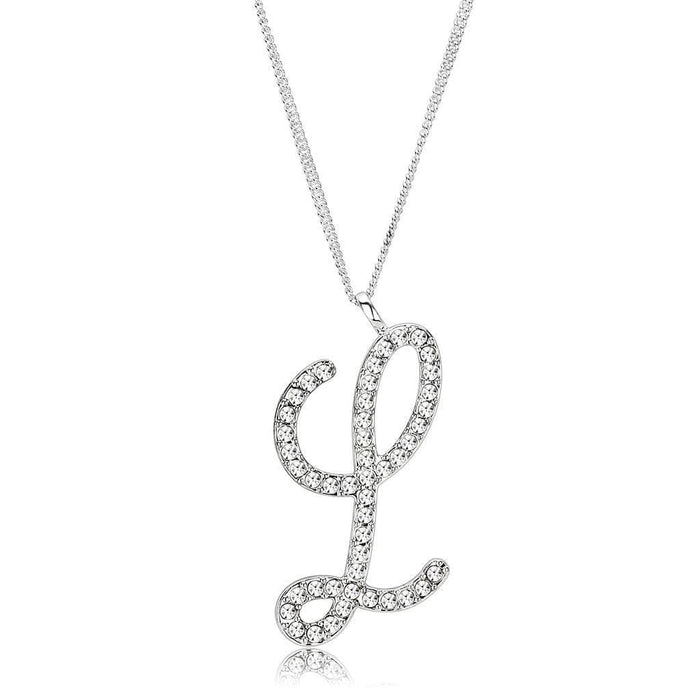 Chain Pendant LO4709 Silver Brass Chain Pendant with Top Grade Crystal in Clear angelucci-jewelry