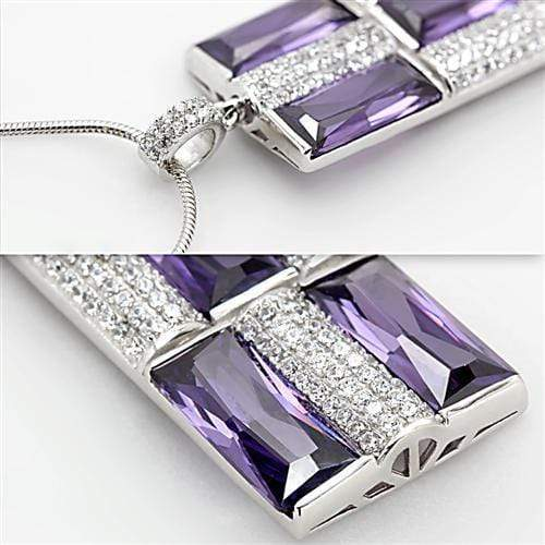 Chain Pendant TS026 Rhodium 925 Sterling Silver Chain Pendant with AAA Grade CZ in Amethyst angelucci-jewelry