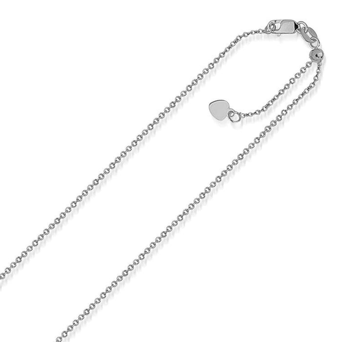 Chains 22 10k White Gold Singapore Style Adjustable Chain (1.1 mm) angelucci-jewelry