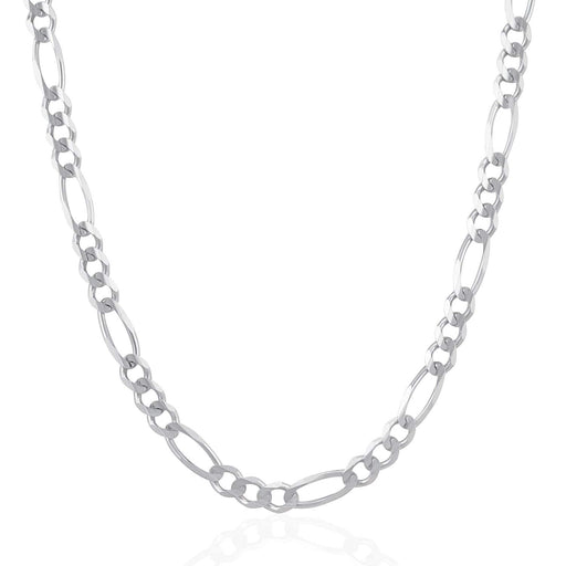 Chains 6.0mm 14k White Gold Solid Figaro Chain angelucci-jewelry