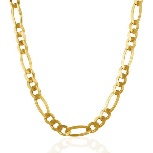 Chains 7.0mm 14k Yellow Gold Solid Figaro Chain angelucci-jewelry