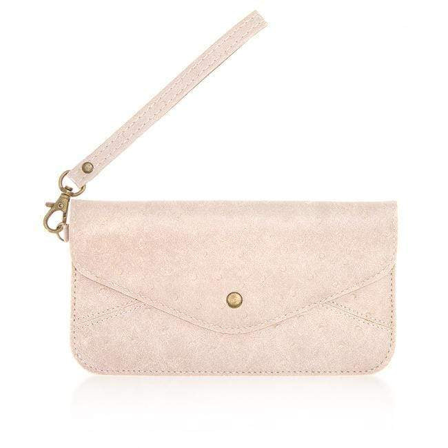 Clutches Nyla Blush Faux Leather Clutch angelucci-jewelry
