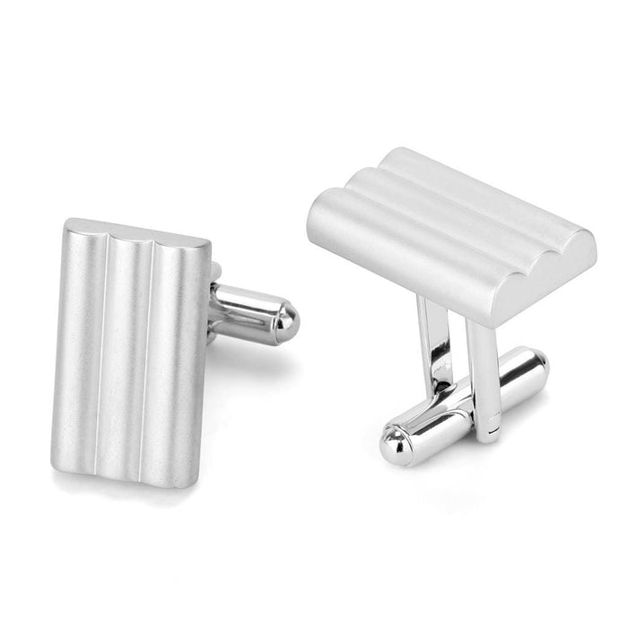 Cufflink LO4732 Matte Rhodium & Rhodium Brass Cufflink with No Stone in No Stone angelucci-jewelry