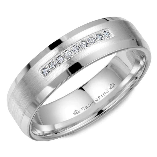 Diamond & 14k White Gold Sandpaper Center & High Polish Sides Mens Wedding Band angelucci-jewelry