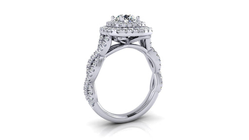 Double Halo Round Center Infinity Diamond Engagement Ring angelucci-jewelry