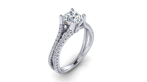 Double Shank Round Brilliant Center Diamond Engagement Ring angelucci-jewelry
