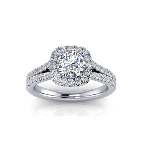 Double Shank Round Brilliant Halo Diamond Engagement Ring angelucci-jewelry