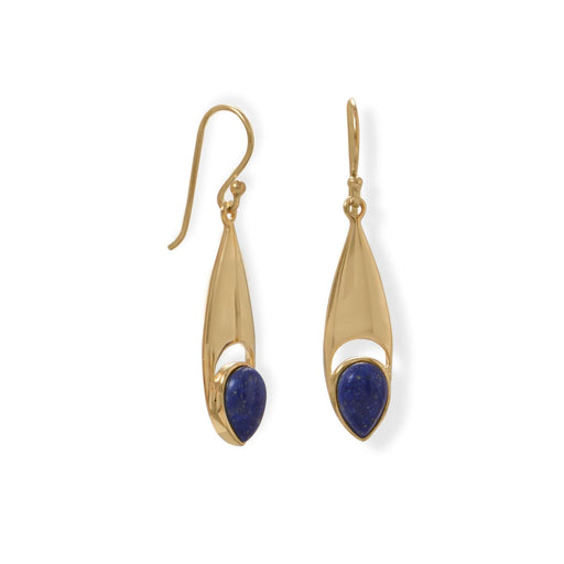 Earrings 14 Karat Gold Plated Pear Shaped Lapis Earrings angelucci-jewelry