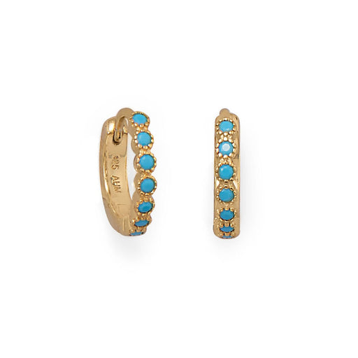 Earrings 14 Karat Gold Plated Turquoise CZ Hoop Earrings angelucci-jewelry