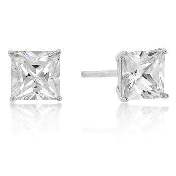 Earrings 6mm New Sterling Princess Cut Cubic Zirconia Studs Silver angelucci-jewelry
