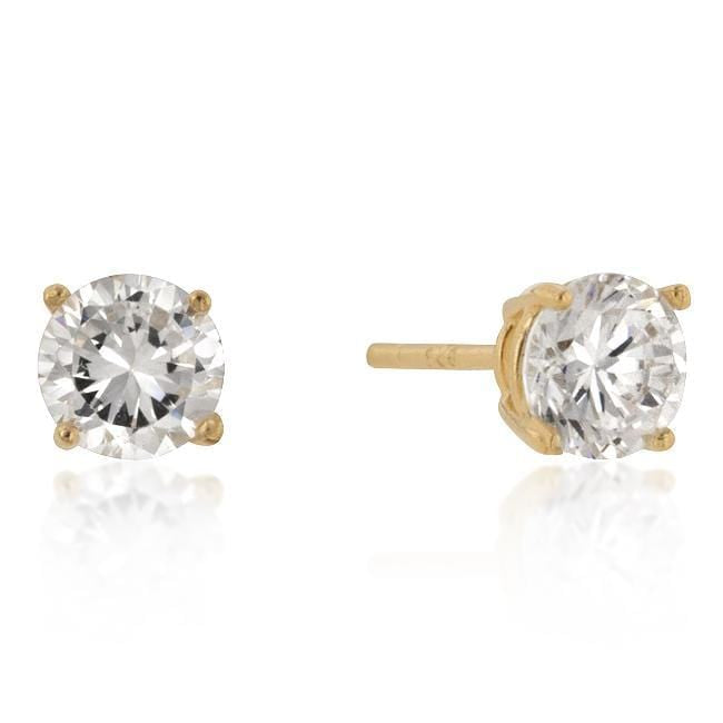 Earrings 6mm New Sterling Round Cut Cubic Zirconia Studs Gold angelucci-jewelry