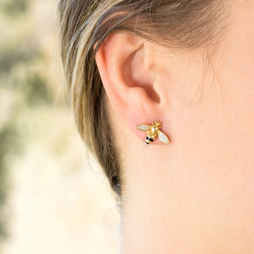 "Earrings ""BEE Mine!"" 14 Karat Gold Plated Signity CZ Bee Earrings angelucci-jewelry"