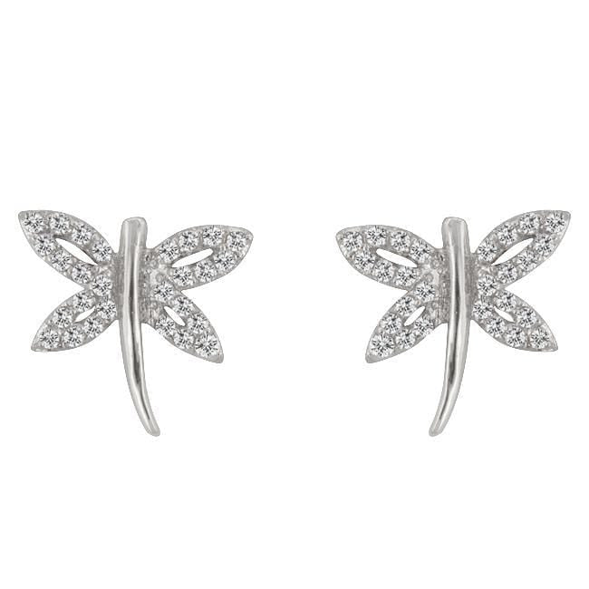 Earrings Cubic Zirconia Dragonfly Earrings angelucci-jewelry