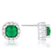 Earrings Liz 2ct Emerald CZ Rhodium Classic Cushion Stud Earrings angelucci-jewelry