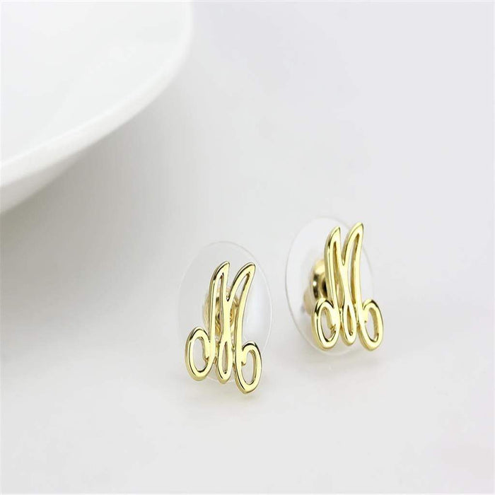 Earrings LO4667 Flash Gold Brass Earrings with No Stone in No Stone angelucci-jewelry