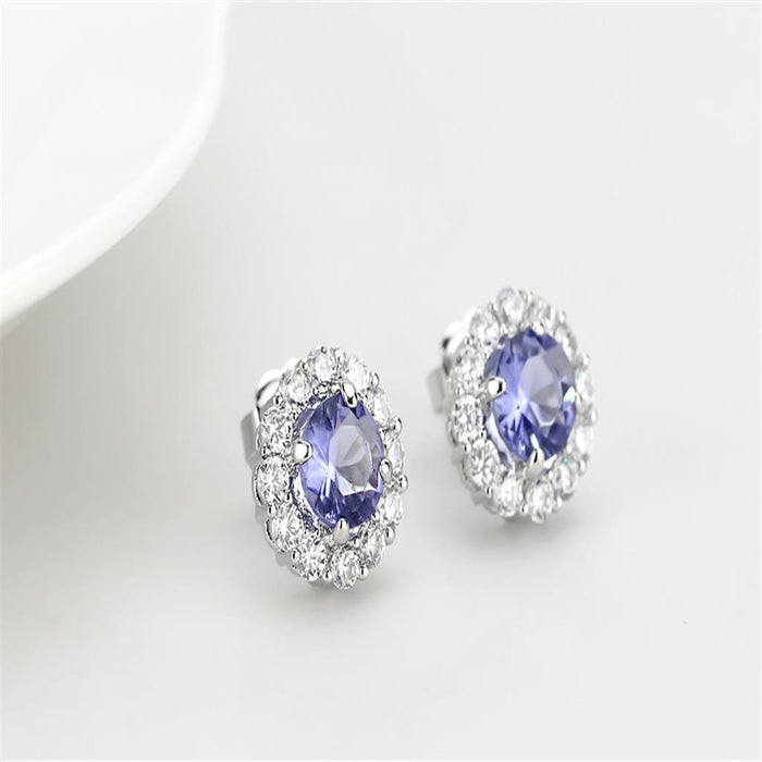 Earrings LO4674 Rhodium Brass Earrings with Synthetic in Tanzanite angelucci-jewelry