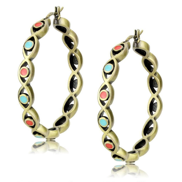 Earrings LO4679 Antique Silver Brass Earrings with Epoxy in Multi Color angelucci-jewelry