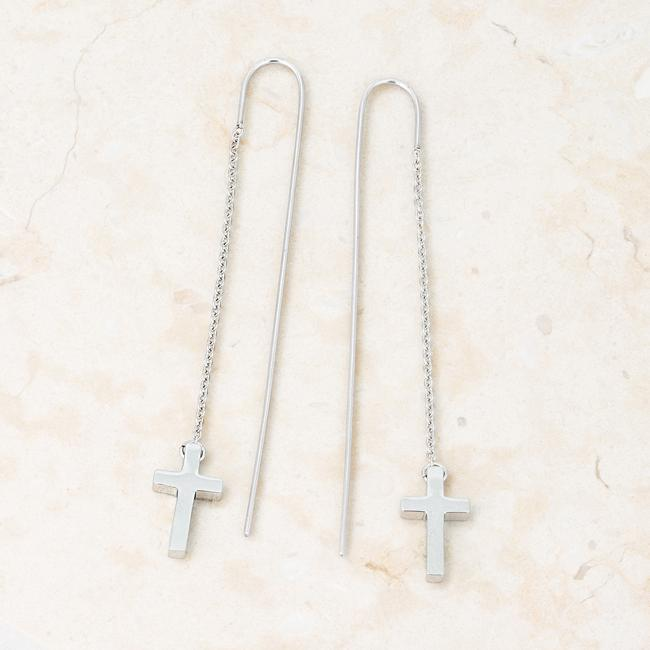 Earrings Marylou Rhodium Stainless Steel Cross Threaded Drop Earrings angelucci-jewelry