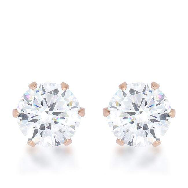Earrings Reign 3.4ct CZ Rose Gold Stainless Steel Stud Earrings angelucci-jewelry