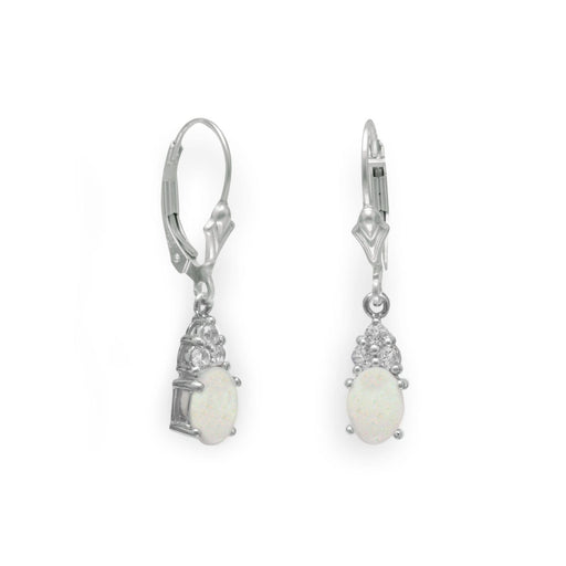 Earrings Rhodium Plated Australian Opal and White Topaz Earrings angelucci-jewelry