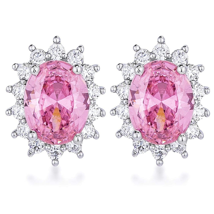 Earrings Rhodium Plated Pink Petite Royal Oval Earrings angelucci-jewelry