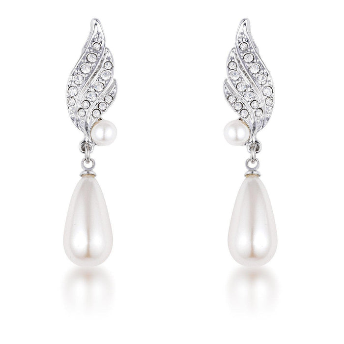 Earrings Rhodium Plated Simulated Pearl and Crystal Bridal Drop Earrings angelucci-jewelry