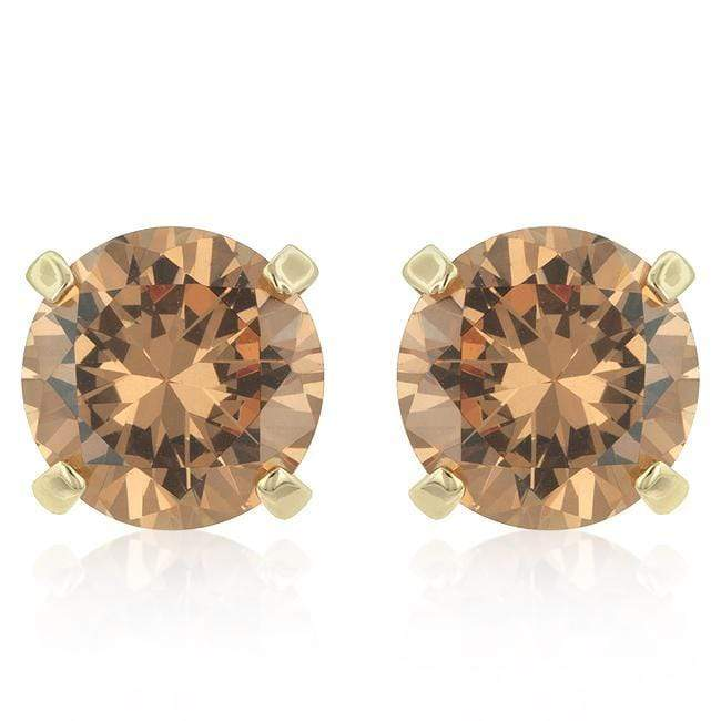 Earrings Simple Champagne Cubic Zirconia Studs angelucci-jewelry
