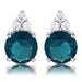 Earrings Simple Rhodium Plated 9mm Blue Green CZ Stud Earring angelucci-jewelry