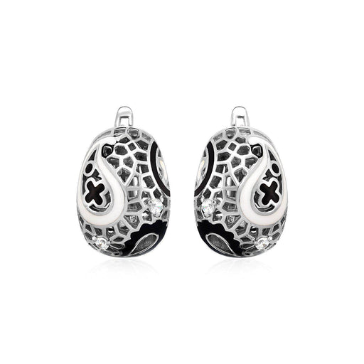Earrings Sterling silver Paisley Mosaic Earrings with Enamel and Cubic Zirconia in Sterling Silver angelucci-jewelry
