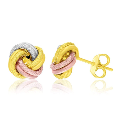 Earrings Tri color gold 14k Tri-Color Gold Textured Love Knot Style Earrings angelucci-jewelry