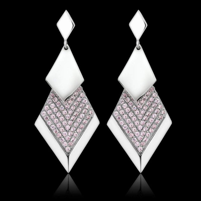 Earrings TS053 Rhodium 925 Sterling Silver Earrings with AAA Grade CZ in Rose angelucci-jewelry