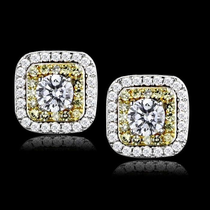 Earrings TS551 Reverse Two-Tone 925 Sterling Silver Earrings with AAA Grade CZ in Clear angelucci-jewelry