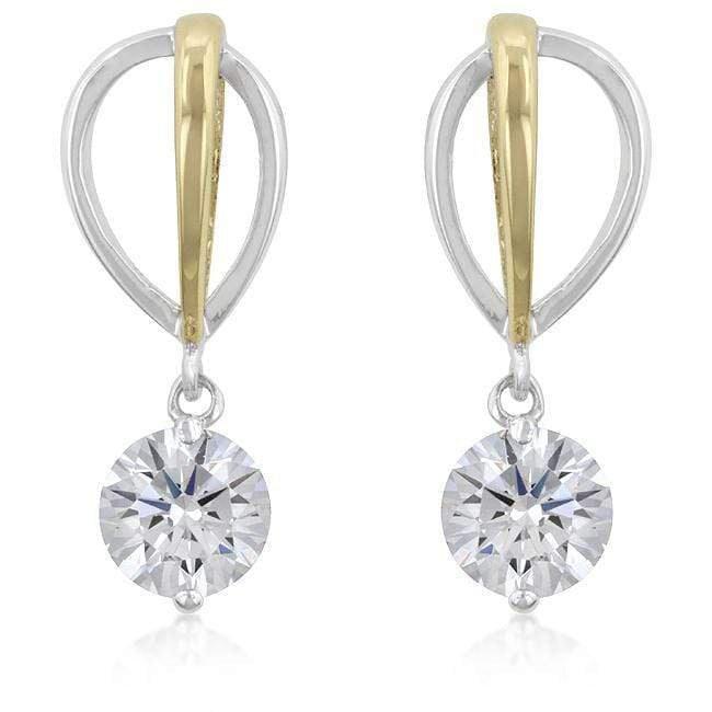 Earrings Two-tone Finish Cubic Zirconia Drop Earrings angelucci-jewelry