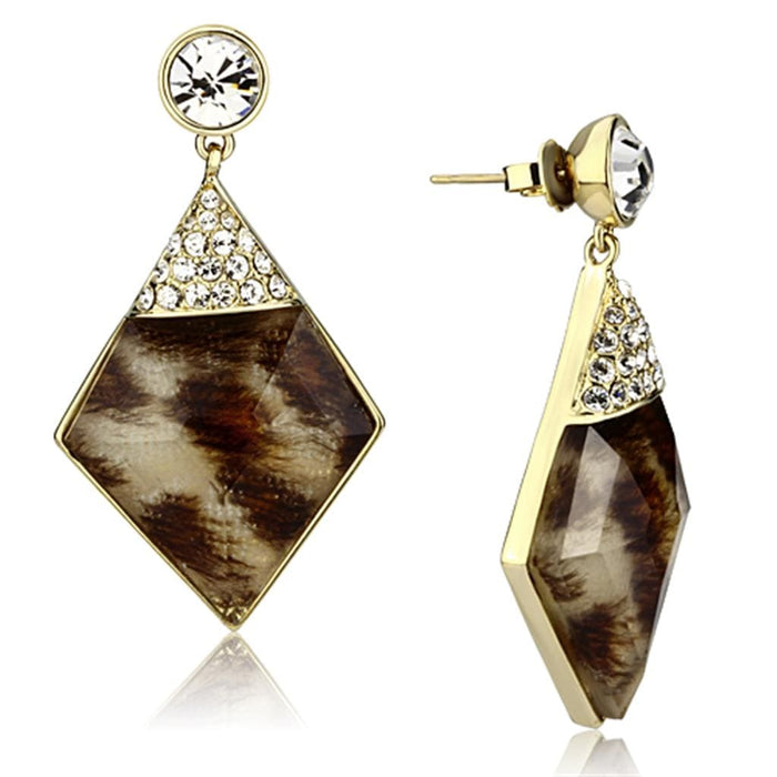 Earrings VL063 IP Gold(Ion Plating) Brass Earrings with Synthetic in Animal pattern angelucci-jewelry