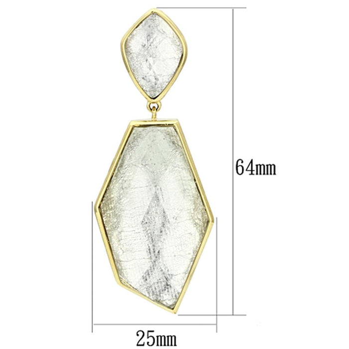Earrings VL075 IP Gold(Ion Plating) Brass Earrings with Synthetic in White angelucci-jewelry