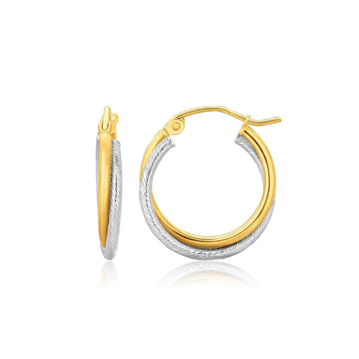 Earrings White and yellow gold 14k Two Tone Gold Double Polished and Textured Hoop Earrings angelucci-jewelry