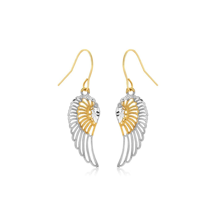 Earrings White and yellow gold Two-Tone Wing Drop Earrings in 10K Gold angelucci-jewelry