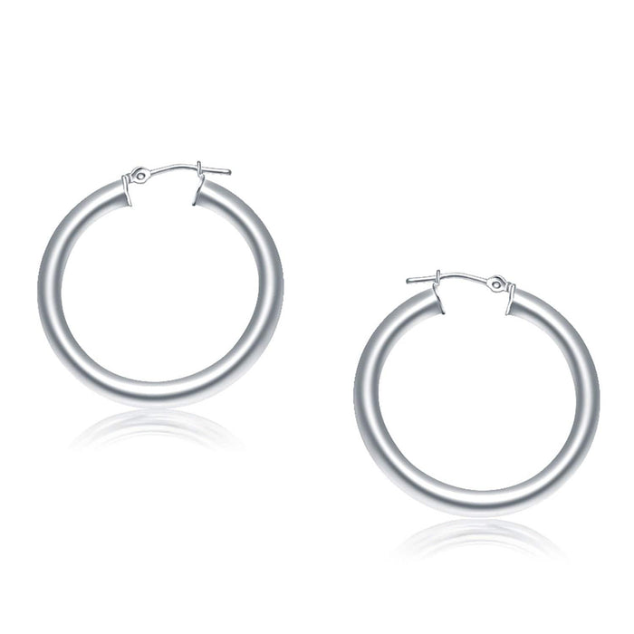 Earrings White gold 14k White Gold Polished Hoop Earrings (30 mm) angelucci-jewelry
