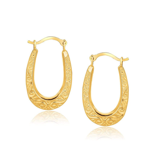 Earrings Yellow gold 10k Yellow Gold Fancy Oval Hoop Earrings angelucci-jewelry