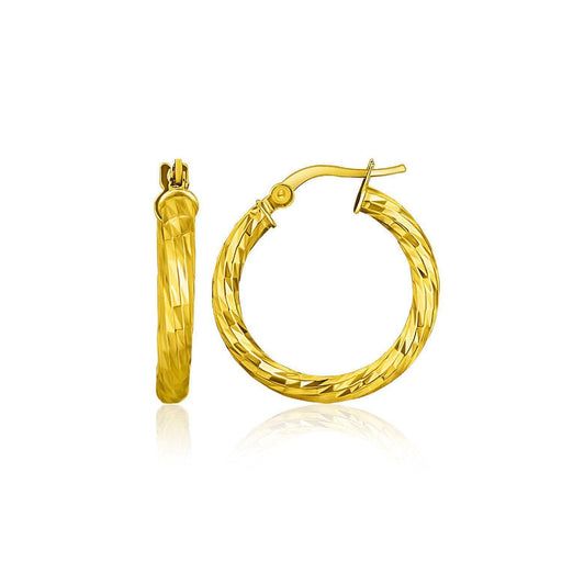 Earrings Yellow gold 14k Yellow Gold Hoop Earrings with Diamond Cut Style angelucci-jewelry