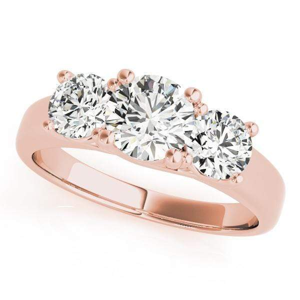 Engagement Rings 1 / 14kt / Pink Engagement Rings 3 Stone Round angelucci-jewelry