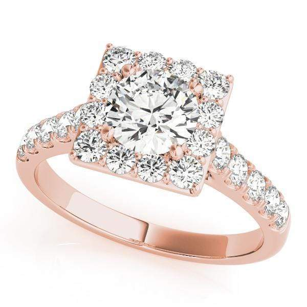 Round Brilliant Shape Halo Diamond Engagement Ring With Square Border & Side Diamonds-Angelucci-Jewelry